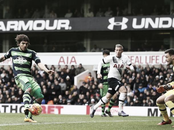 Alberto Paloschi scoring Swansea City goal on Sunday against Tottenham Hotspur at White Hart Lane. Photo provided by Getty Images.