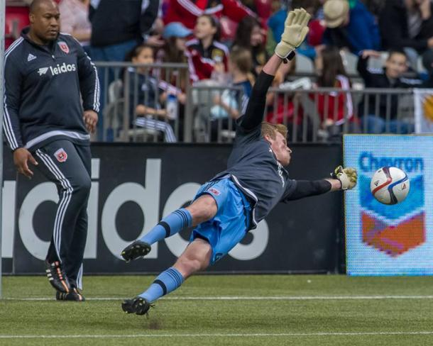 D.C.'s goalkeeper Travis Worra stood his ground against the Earthqaukes on Saturday as he made five saves in the match. Photo provided by USA TODAY Sports.