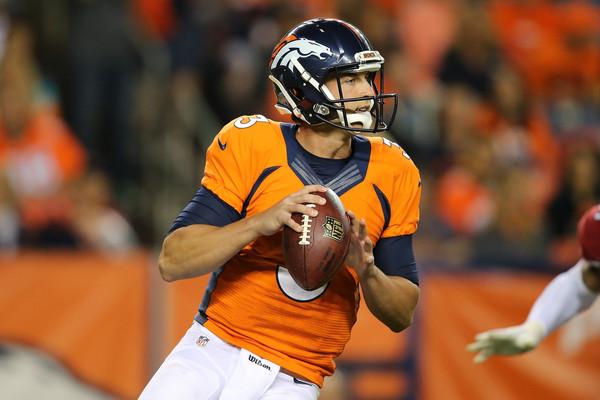 Broncos quarterback Trevor Siemian (#13) makes his NFL debut as a starter on September 8, 2016 versus the Carolina Panthers.  Photo:  Doug Pensinger/Getty Images North America