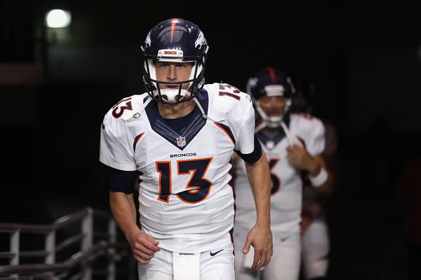 Quarterback Trevor Siemian #13 of the Denver Broncos runs onto the field before the preseaon NFL game against the Arizona Cardinals at the University of Phoenix Stadium on September 1, 2016 in Glendale, Arizona. The Cardinals defeated the Broncos 38-17 (Aug. 31, 2016 - Source: Christian Petersen/Getty Images North America