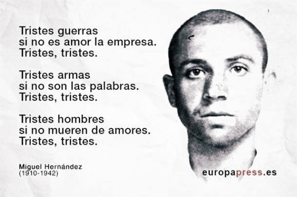 Fragmento del Poema Tristes Guerras. Fuente: Europapress