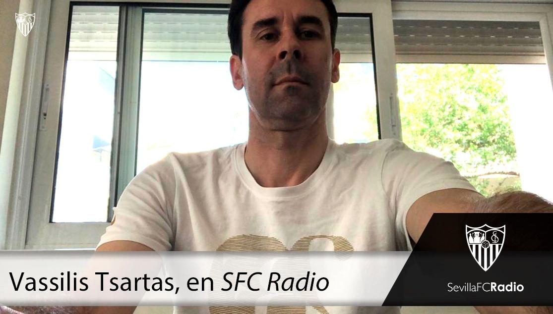 Tsartas en su charla en SFC Radio. Foto: sevillafc.es