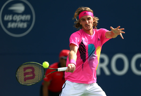 Stefanos Tsitsipas lines up a forehand during his maiden Masters 1000 final. Photo: Getty Images