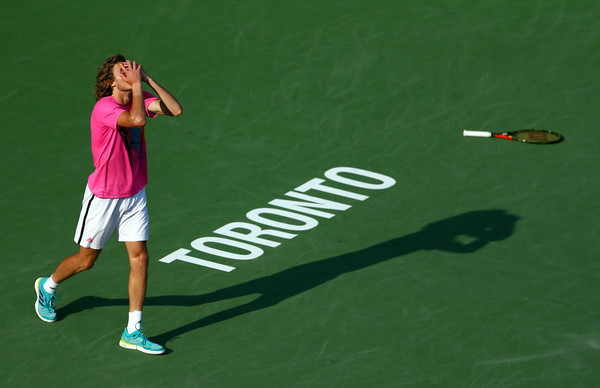 Stefanos Tsitsipas reacts to advancing to the Rogers Cup final. Photo: Getty Images