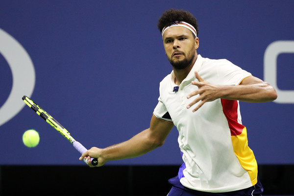 Jo-Wilfried Tsonga strikes a forehand during his second round loss. Photo: Al Bello/Getty Images