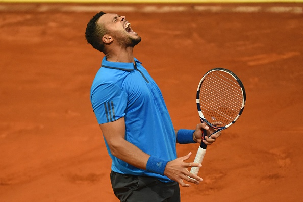 Jo-Wilfried Tsonga screams during his loss. Photo: Pedro Armestre/AFP/Getty Images