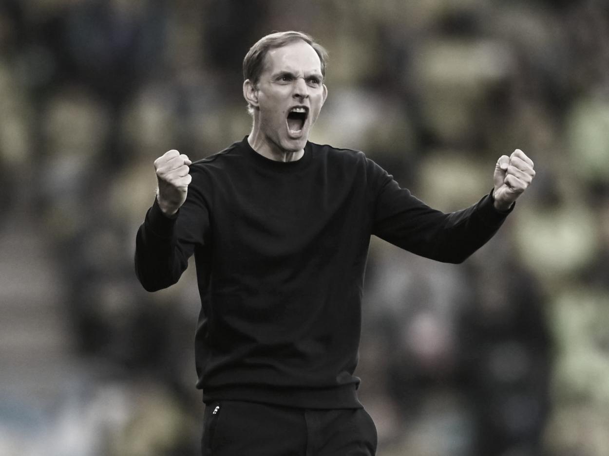 Thomas Tuchel celebra el gol de Ziyech. Foto: Champions League.