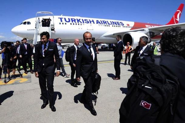 L'arrivo della Turchia in Francia, twitter @EURO2016
