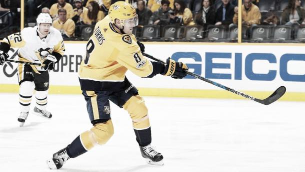 Kyle Turris en su primer partido con los Preds |Foto: NHL.com