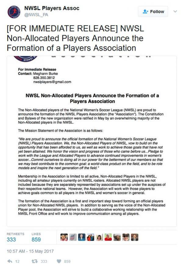 Tweet sent out by the newly created NWSL Players Association | Source: @NWSL_PA