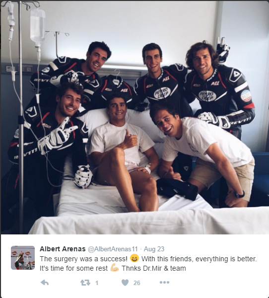 Successful operation for Moto3 rider Albert Arenas who broke his collarbone during the Moto3 race - www.twitter.com