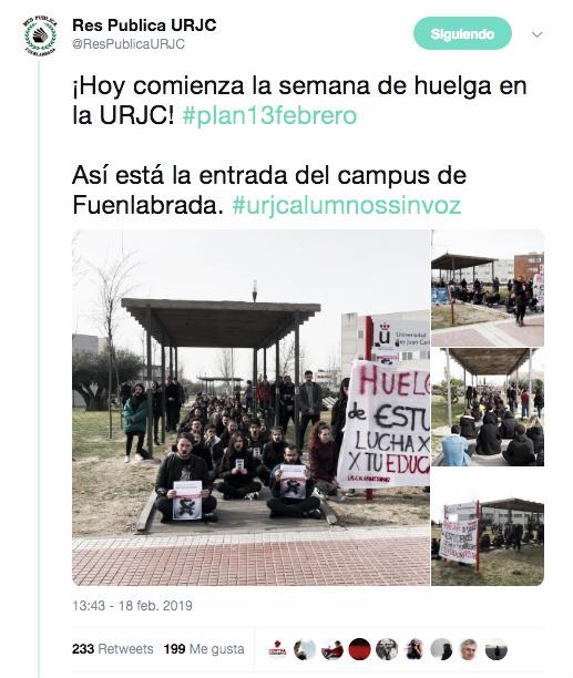 Publicación de la asociación estudiantil Res Publica en Twitter / @ResPublicaURJC