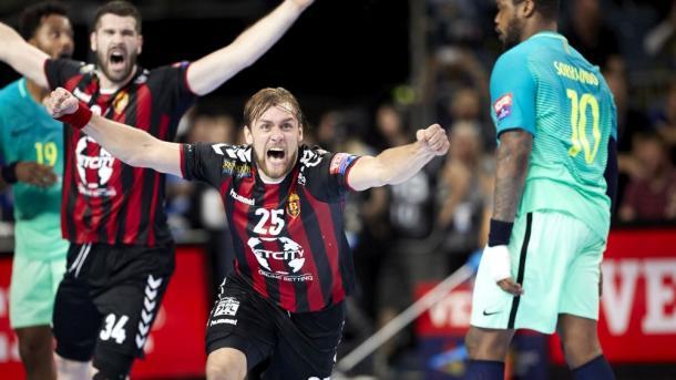 Cindric tras anotar el gol de la victoria. Foto: EHF.