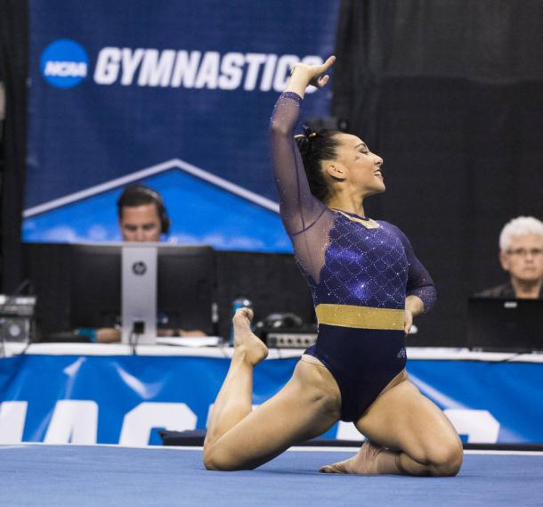 Myia Hambrick's floor routine was one of several that helped LSU to an all-time high semifinal total/Photo: Chris Parent