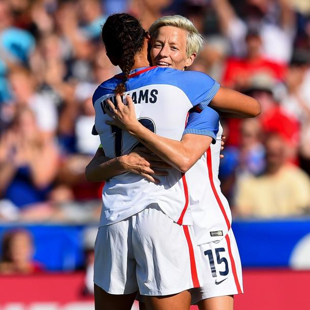 Lynn Williams and Megan Rapinoe celebrate after the fifth goal against Korea Republic | Source: Bob Smith - ISI Photos/US Soccer