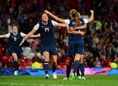 Alex Morgan celebrating after scoring the game winning goal against Canada in the 2012 London semi-final match l Photo: Mark J. Rebilas/ USA Today Sports