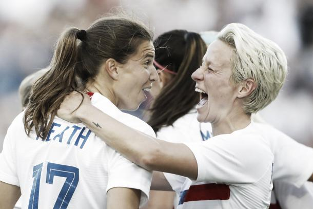 Tobin Heath and Megan Rapinoe celebrate at Children's Mercy Park in Kansas City, KS on July 26, 2018 | Photo: Colin E. Braley/AP Photo