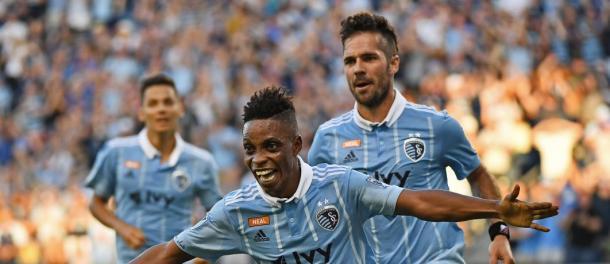 Blessing celebra su gol. // Imagen: Sporting Kansas City