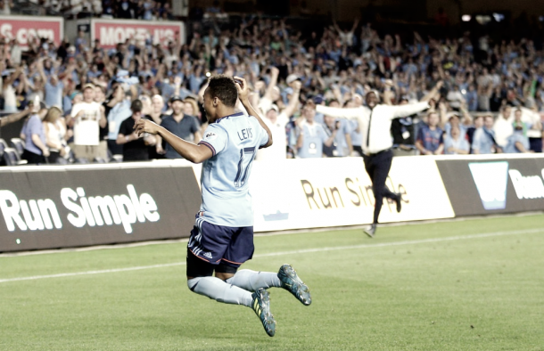 Jonathan Lewis celebrating his late winner vs. New England. | Photo: Brad Penner-USA TODAY Sports