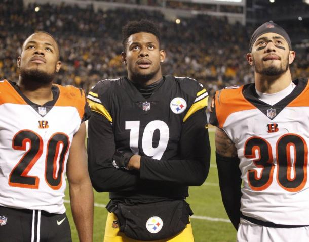 Juju Smith-Schuster can only watch as the Steelers' playoff hopes hang in the balance | Source: Charles LeClaire-USA TODAY Sports