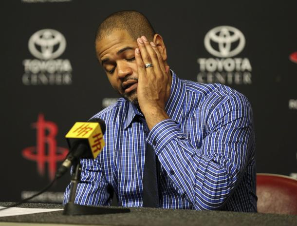 For some reason, coach J.B. Bickerstaff has been decreasing Michael Beasley's minutes as of late. The team will need Beasley in order to win, and that means less faces like this one. Photo: Troy Taormina/USA Today