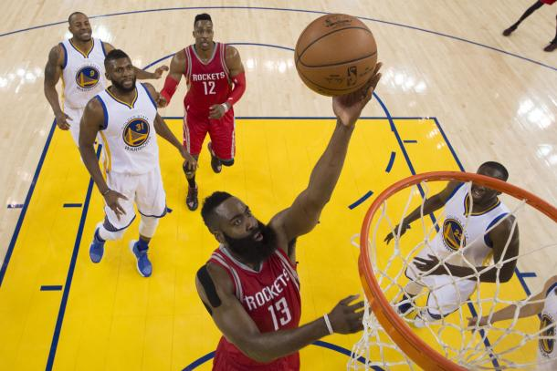 James Harden will play much better than he did in Game 1, getting more easy shots like this. Also, nice smile Andre Iguodala. Photo: Kyle Terada/USA Today.