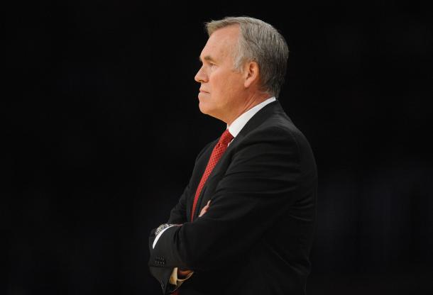 Mike D'Antoni doesn't look too happy. That may be because James Harden completely ignored his offense in the second half. There will be a lot more grumpy faces if Harden doesn't turn it around. Photo Credit: Gary A. Vasquez/USA TODAY Images.