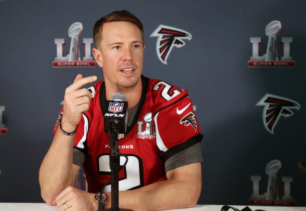 Matt Ryan is the favorite to win MVP of the season, with Tom Brady close behind him in second. Ryan will have to prove that he deserves it for the Falcons to get the upset. Photo Credit: Matthew Emmons/USA TODAY Images.