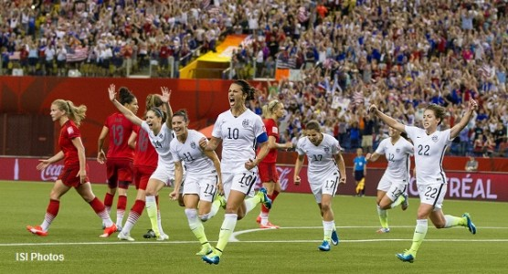 Captain Carli Lloyd (Center) and the rest of the USWNT celebrating her goal against Germany in the semifinals of the 2015 Women's World Cup in Canada. Photo provided by ISI Photos
