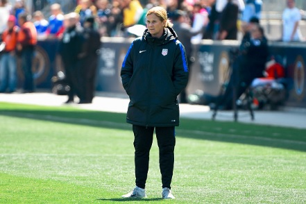 Head coach Jill Ellis of the United States looks on prior to the match against Colombia at Talen Energy Stadium on April 10, 2016 | Photo by Rich Barnes/Getty Images
