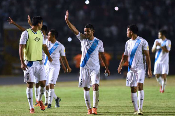 Guatemala celebrating their historical 2-0 victory over the United States on Friday in Guatemala City. Photo provided by AFP.