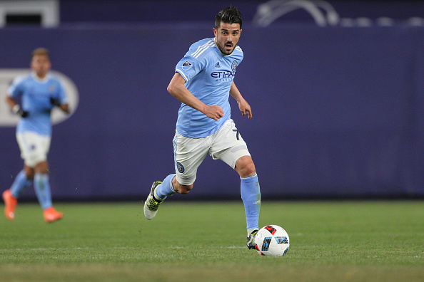 David Villa dribbles up the field against the Chicago Fire | Tom Clayton/Corbis - Getty Images