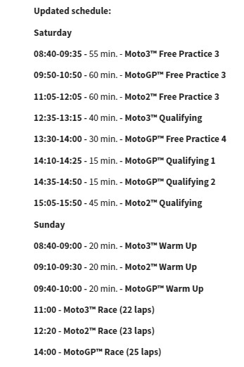 Updated schedule for remainder of seventh round at Catalan GP - www.motogp.com