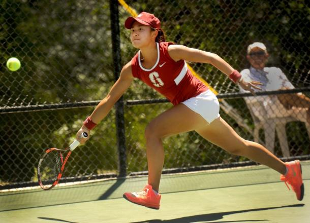 Carol Zhao in action during her final year of college tennis with Stanford University. | Photo: Rob Varela/The Star