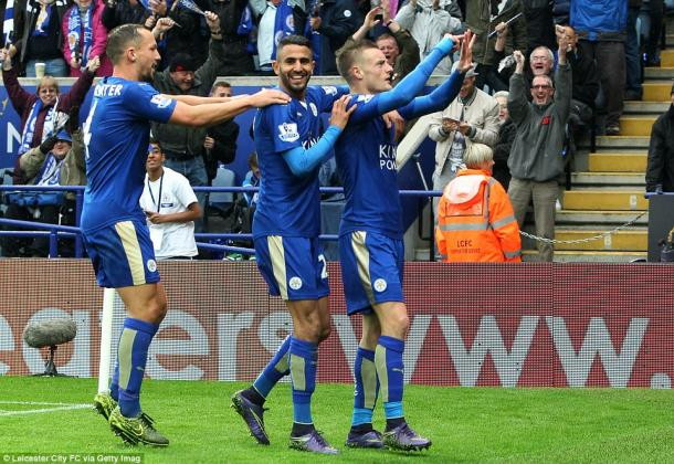 Vardy celebra un gol esta temporada. Foto: Daily Mail