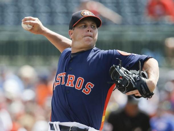 Houston Astros starting pitcher Brad Peacock (41) throws a pitch during the first inning of a spring training baseball game against the Detroit Tigers at Osceola County Stadium.  (Reinhold Matay, USA TODAY)