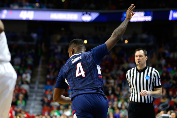 Sterling Gibbs #4 of the Connecticut Huskies reacts after making a three point basket against the Colorado Buffaloes in the second half during the first round of the 2016 NCAA Men's Basketball Tournament at Wells Fargo Arena on March 17, 2016 in Des Moines, Iowa. (March 16, 2016 - Source: Kevin Cox/Getty Images North America)