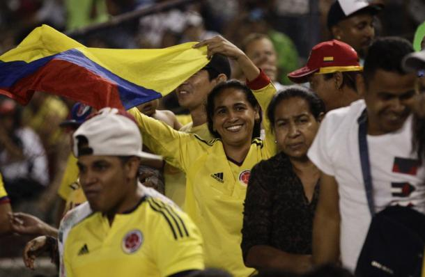 A Colombia baseball fan waves her nation's flag during a World Baseball Classic qualifying championship game against Panama in Panama City, Sunday, March 20, 2016. (AP Photo/Arnulfo Franco)