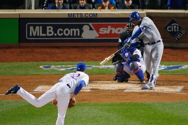 Salvador Perez #13 of the Kansas City Royals singles in the second inning against Steven Matz #32 of the New York Mets. (Oct. 30, 2015 - Source: Mike Stobe/Getty Images North America)