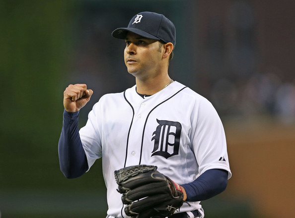 ​ Anibal Sanchez #19 of the Detroit Tigers gives the fans a fist pump after the end of the fourth inning of the game against the Texas Rangers. (May 22, 2014 - Source: Leon Halip/Getty Images North America) Click and drag to move ​