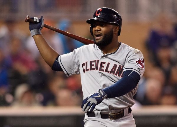 Abraham Almonte #35 of the Cleveland Indians reacts to striking out against the Minnesota Twins. (Sept. 22, 2015 - Source: Hannah Foslien/Getty Images North America)