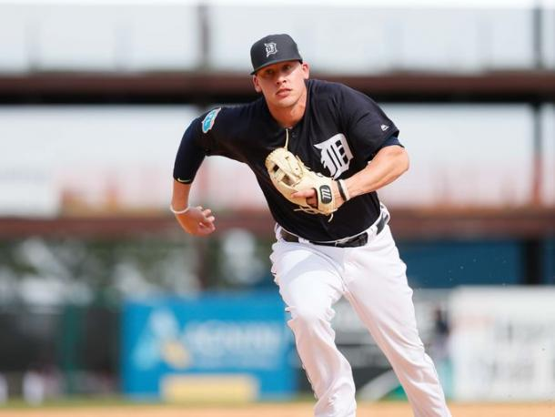Detroit Tigers' JaCoby Jones runs to cover third base during an exhibition game against Florida Southern. (Kimberly P. Mitchell / DFP)
