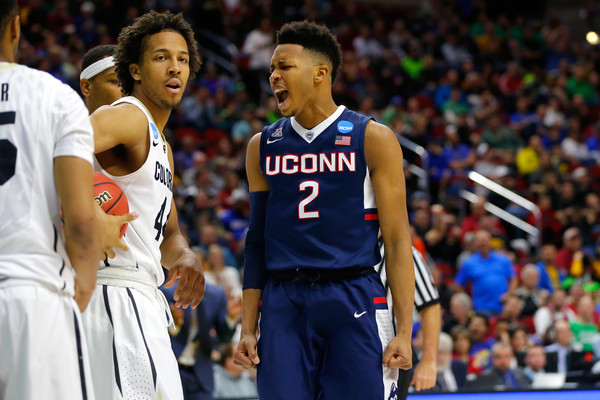 Jalen Adams #2 of the Connecticut Huskies reacts after a steal in the second half against the Colorado Buffaloes during the first round of the 2016 NCAA Men's Basketball Tournament at Wells Fargo Arena on March 17, 2016 in Des Moines, Iowa. (March 16, 2016 - Source: Kevin Cox/Getty Images North America)