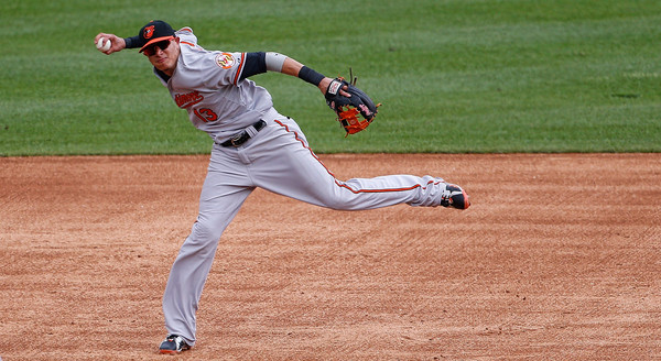 Manny Machado #13 of the Baltimore Orioles makes the throw to first base on the ground ball by Marc Krauss #57 of the Detroit Tigers (not in photo) during the third inning of the game on July 19, 2015 at Comerica Park in Detroit, Michigan. (July 18, 2015 - Source: Leon Halip/Getty Images North America)
