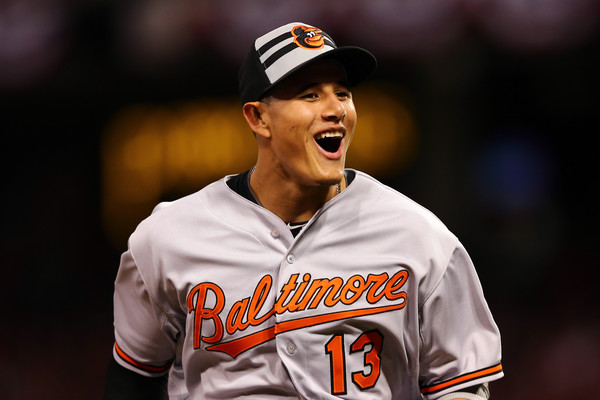 American League All-Star Manny Machado #13 of the Baltimore Orioles reacts after the seventh inning against the National League during the 86th MLB All-Star Game at the Great American Ball Park on July 14, 2015 in Cincinnati, Ohio. (July 13, 2015 - Source: Elsa/Getty Images North America)
