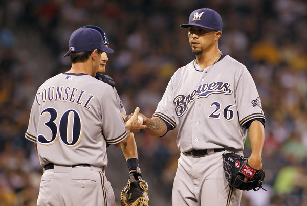 Kyle Lohse #26 of the Milwaukee Brewers is taken out of the game in the seventh inning by manager Craig Counsell #30 during the game against the Pittsburgh Pirates at PNC Park on June 10, 2015 in Pittsburgh, Pennsylvania. (June 9, 2015 - Source: Justin K. Aller/Getty Images North America)