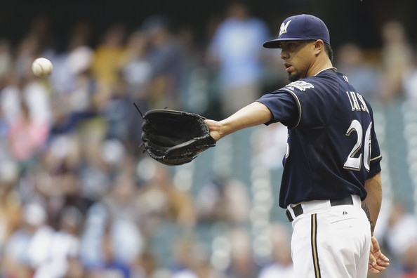 Kyle Lohse #26 of the Milwaukee Brewers pitches in the top of the first inning against the Colorado Rockies at Miller Park on June 27, 2014 in Milwaukee, Wisconsin. (June 26, 2014 - Source: Mike McGinnis/Getty Images North America)