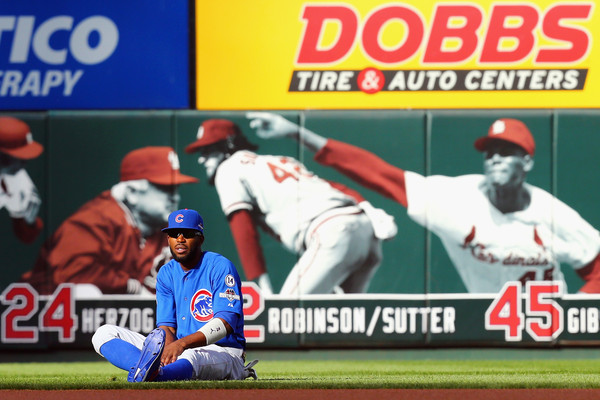 Dexter Fowler #24 of the Chicago Cubs stretches prior to game two of the National League Division Series between the St. Louis Cardinals and the Chicago Cubs. (Oct. 9, 2015 - Source: Dilip Vishwanat/Getty Images North America)