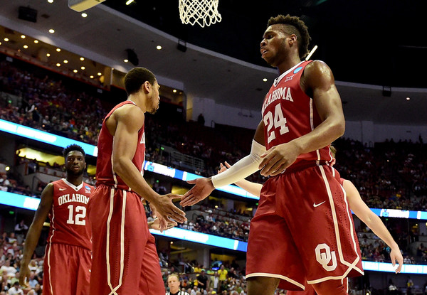Buddy Hield #24 of the Oklahoma Sooners celebrates in the first half against the Oregon Ducks in the NCAA Men's Basketball Tournament West Regional Final at Honda Center on March 26, 2016 in Anaheim, California. (March 25, 2016 - Source: Harry How/Getty Images North America)