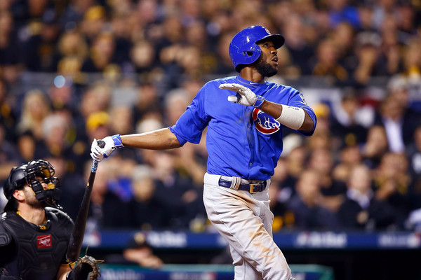 Dexter Fowler #24 of the Chicago Cubs hits a solo home run in the fifth inning during the National League Wild Card game against the Pittsburgh Pirates. (Oct. 6, 2015 - Source: Jared Wickerham/Getty Images North America)